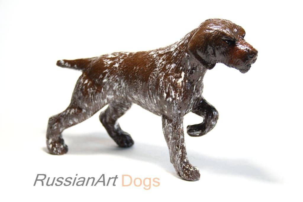 German Wirehaired Pointer statue, figurine handmade of ceramic ...