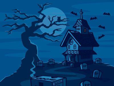 Haunted house cartoon landscape illustration 02 - Cartoon haunted house pics ...