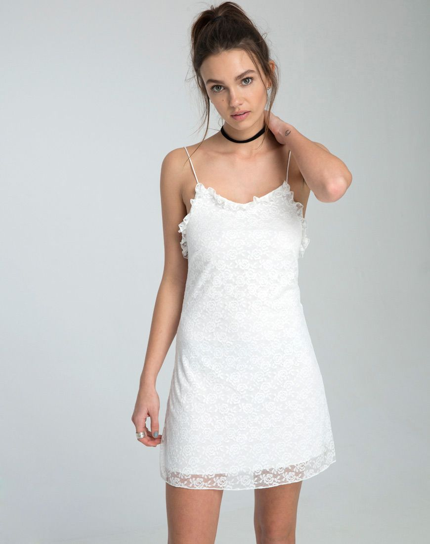 No Summer Wardrobe Is Complete Without A Fresh White Dress And We Are Crushing On The Rose Lace Detailing This Slip Dress F Slip Dress Dresses Rose Lace Dress [ 1100 x 870 Pixel ]