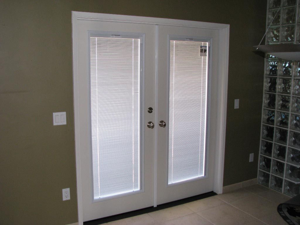 French doors with built in blinds door guy french doors for Door window replacement