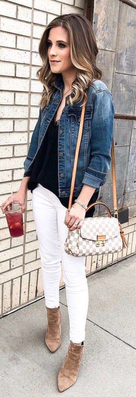 Spring Outfits Blue Denim Jacket Black Shirt And White Pants Outfit Pic By Courteink White Pants Outfit Spring Black Blouse Outfit Black Shirt Outfits