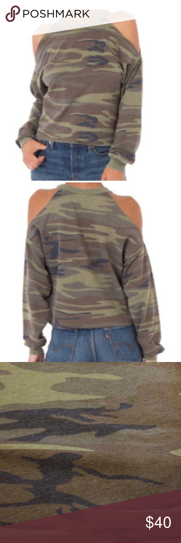 ea321c99605364 Z Supply cold shoulder sweatshirt Z Supply cold shoulder camouflage  sweatshirt Z Supply Tops Sweatshirts   Hoodies