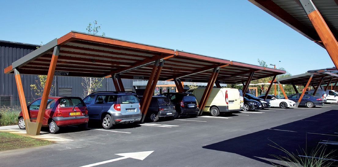 Steel Carport Wooden Commercial With Integrated Photovoltaic Panel Area 2 Aubrilam Videos Wooden Carports Photovoltaic Panels Steel Carports