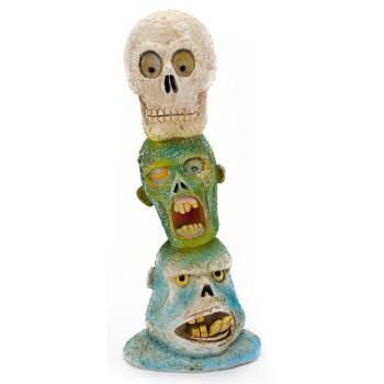 Penn-Plax Zombie Skull Totem Pole is a great way to decorate your - halloween fish tank decorations