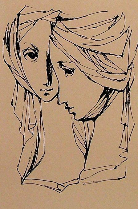 """JIŘINCOVÁ Ludmila (1912-1994): """"Dvě dívčí hlavy v rouškách"""""""
