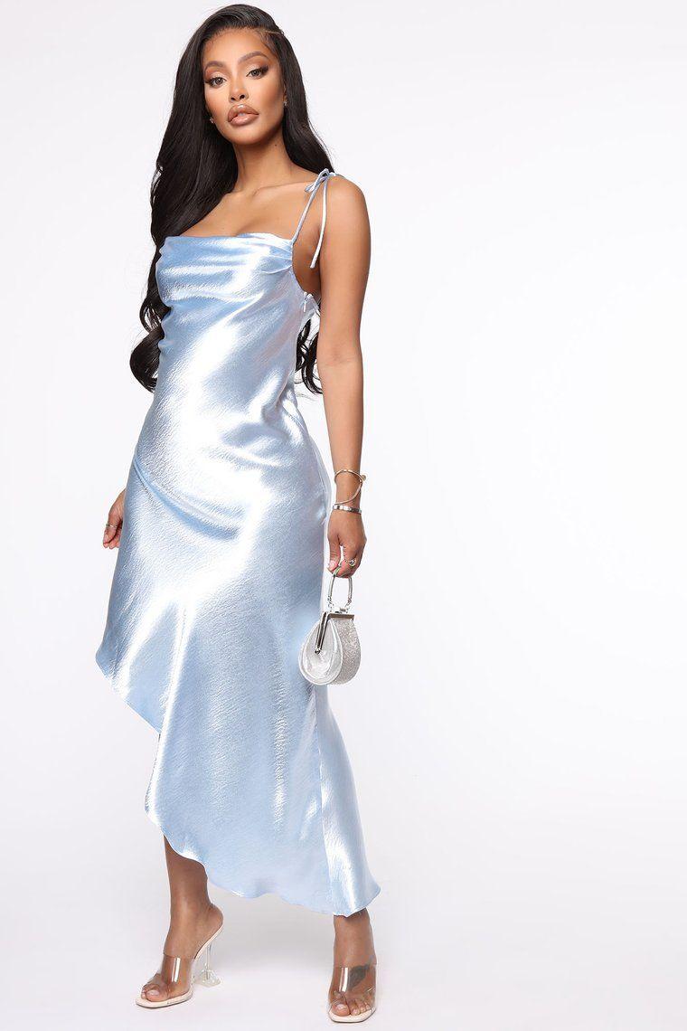 Sleek Trends Satin Maxi Slip Dress Blue In 2020 Maxi Slip Dress Cutout Maxi Dress Baby Blue Maxi Dress