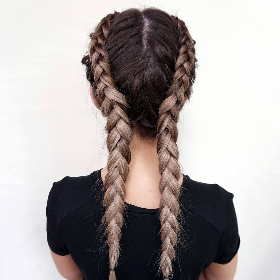 Hairstyle for school girls two plates