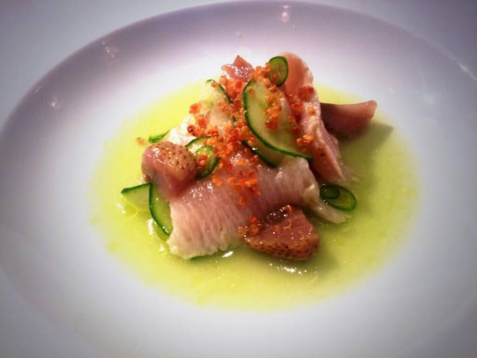 Hamachi Crudo With With Cucumber Broth Pickled Strawberries And