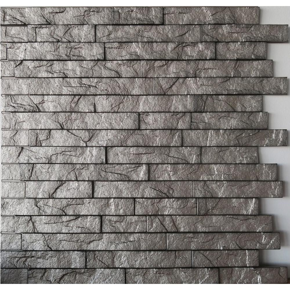 Retro Art Ledge Stone 24 In X 24 In Sparkled Grey Pvc Wall Panel Ledge024 Old The Home Depot Pvc Wall Panels Wall Paneling Pvc Wall