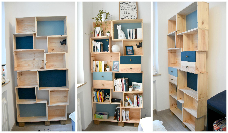 Wooden Wine Crates Bookshelf Meubles En Caisse Meuble Maison Mobilier De Salon
