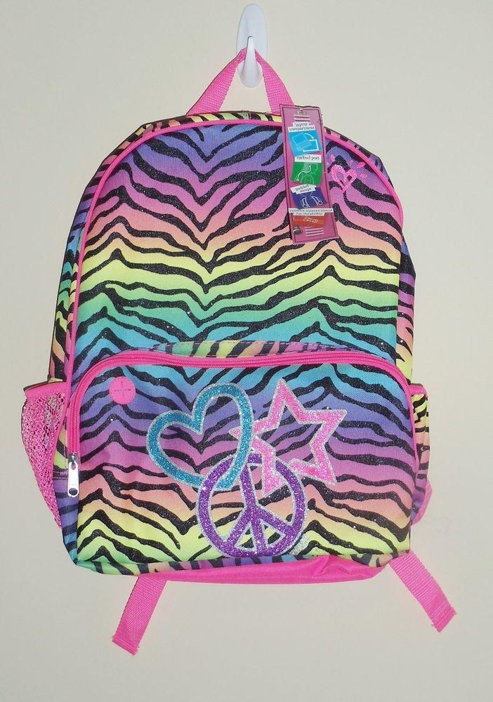 New Girls JUSTICE Backpack Bookbag School Bag Girls Zebra multi ...