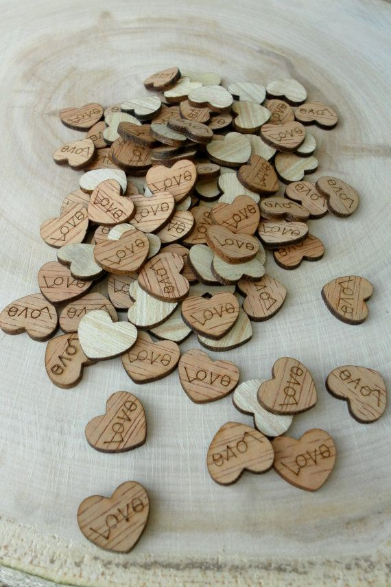 100 Tiny Quot Love Quot Hearts 1 2 Quot Cute Little Wooden Hearts Bridal Shower Decoration Spring We Wooden Hearts Wedding Guest Table Rustic Wedding