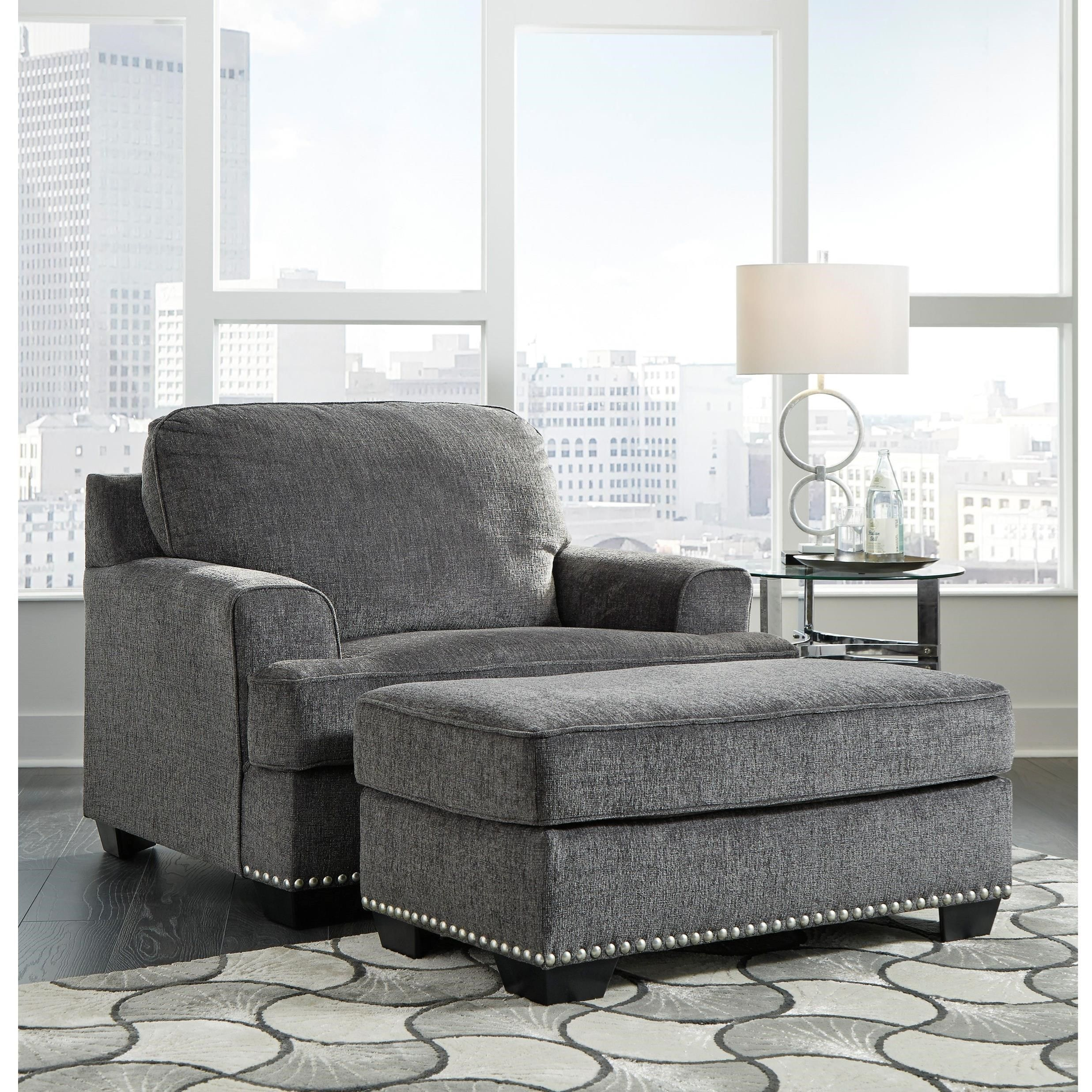 Locklin Chair and a Half with Ottoman by Benchcraft by
