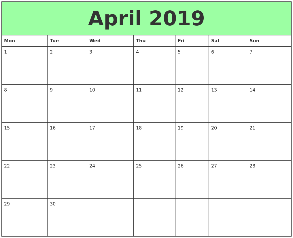 Free Printable April 2021 Calendar Monthly Template ...
