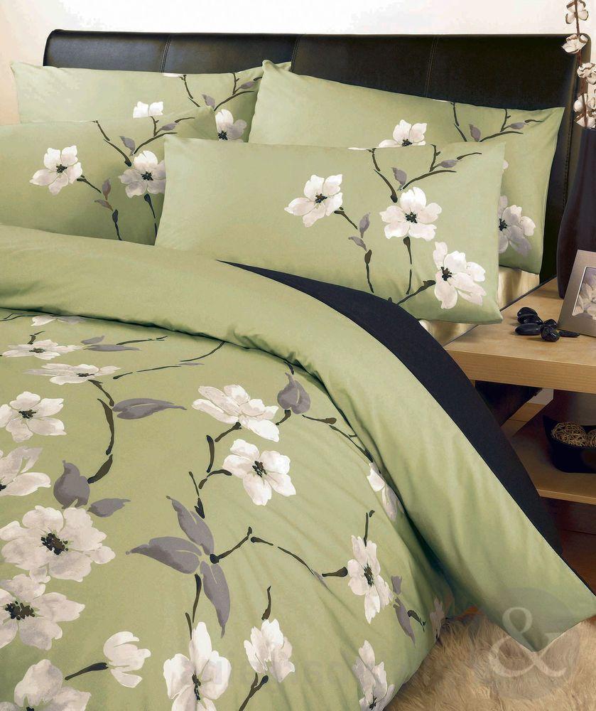Black and cream floral bedding - Oriental Floral Duvet Cover Black Reversible Bedding Olive Green Bed Set