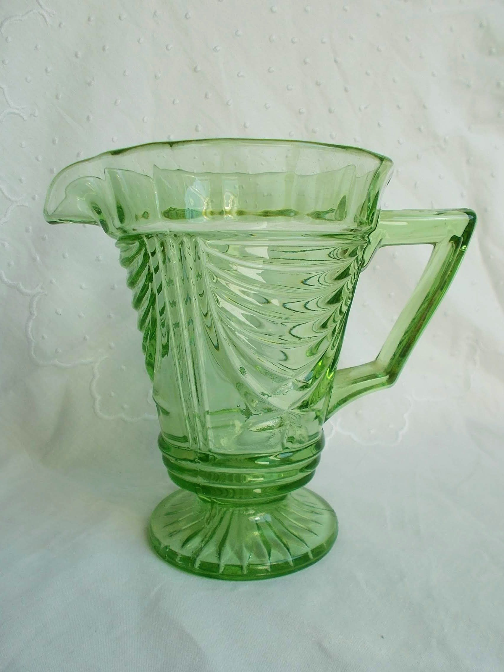 Vintage English Glass Water Jug 1930s By Sowerby Pattern Etsy Glass Water Jug Art Deco Glass Vintage Glassware