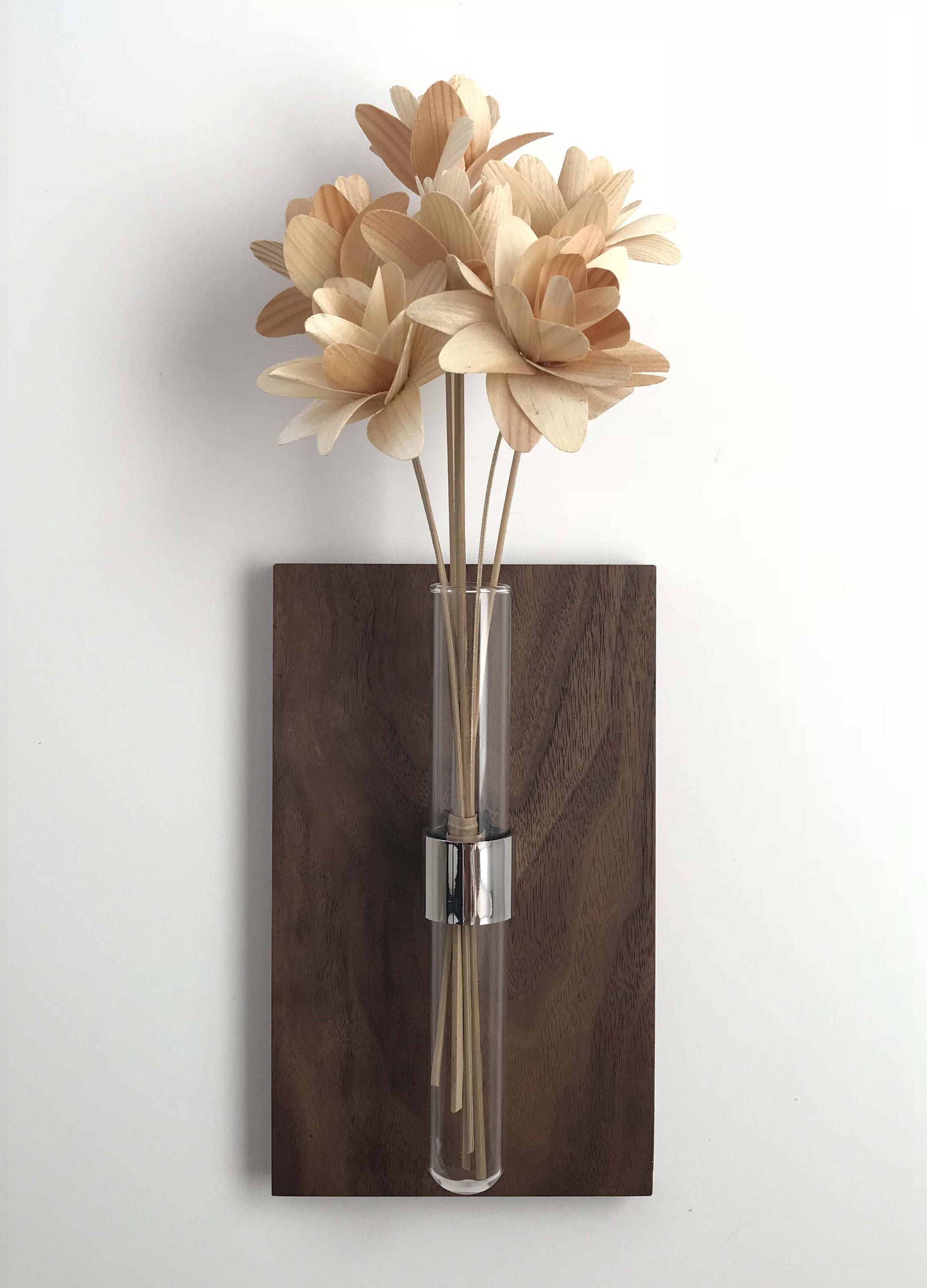 Modern Wall Mount Bud Vase Walnut Stainless Steel And
