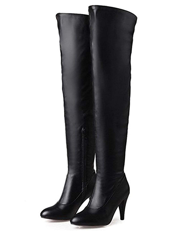 b92b6830a29 SYJO Women's Sexy Pointed Toe Side Zipper Dress Stiletto High Heels ...