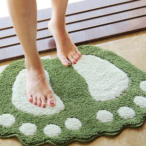 Foot Print Bath Mats Non Slip Bathroom Carpet Mat Toilet Para