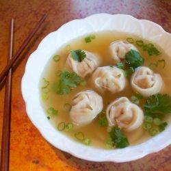 Authentic Chinese Wonton Soup - A simply delicious broth with tender wontons.