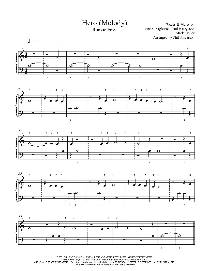 Hero Melody By Enrique Iglesias Piano Sheet Music Rookie Level