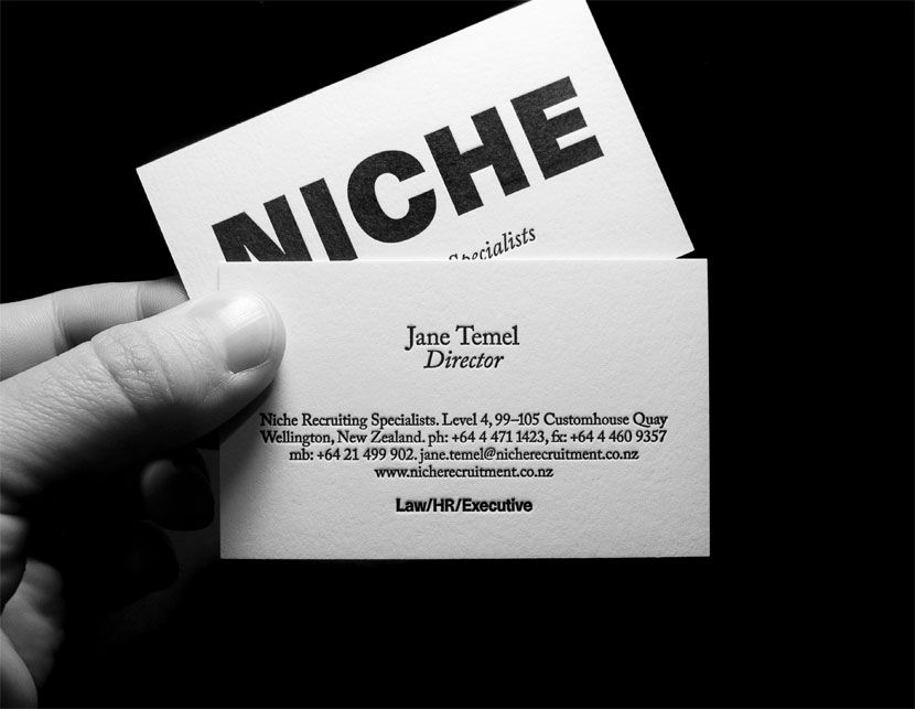 niche recuitment specialists business card design by everything