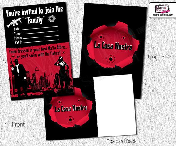 Mobster Invitations Adult Party Invites Birthday Invitations For