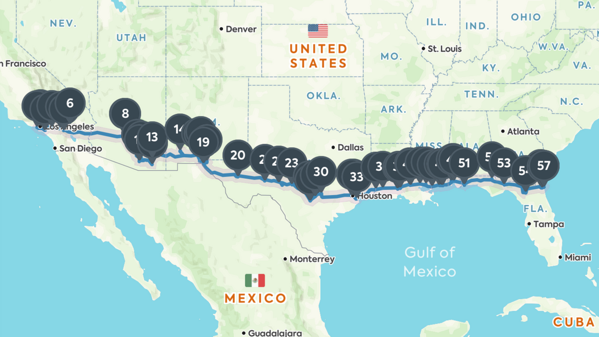 These Are The Coolest Places To Stop On An I 10 Road Trip From - Us-interstate-10-map