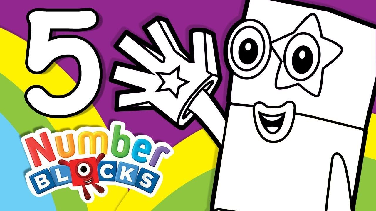 Numberblocks Learn To Count Learn Colors Number Five Counting Lesson Coloring Pages Learning Colors Coloring Pages Inspirational Coloring Pages