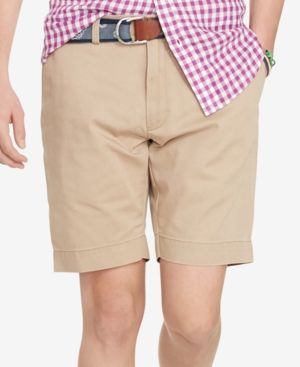 9cad86e3cee1 Polo Ralph Lauren Men s Classic-Fit Flat-Front Chino Shorts - Beige Khaki 40