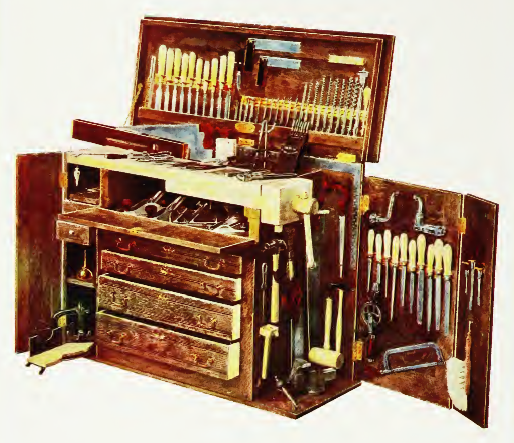 Combination bench and tool cabinet made by hammacher for Apartment workbench plans