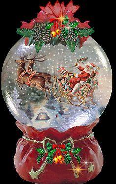 XMAS-1GL Christmas Eve Santa on Sleigh Photo Snow Globe Waterball Stocking Fill