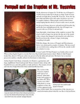 Pompeii And Mt Vesuvius Story And Common Core Worksheet Common
