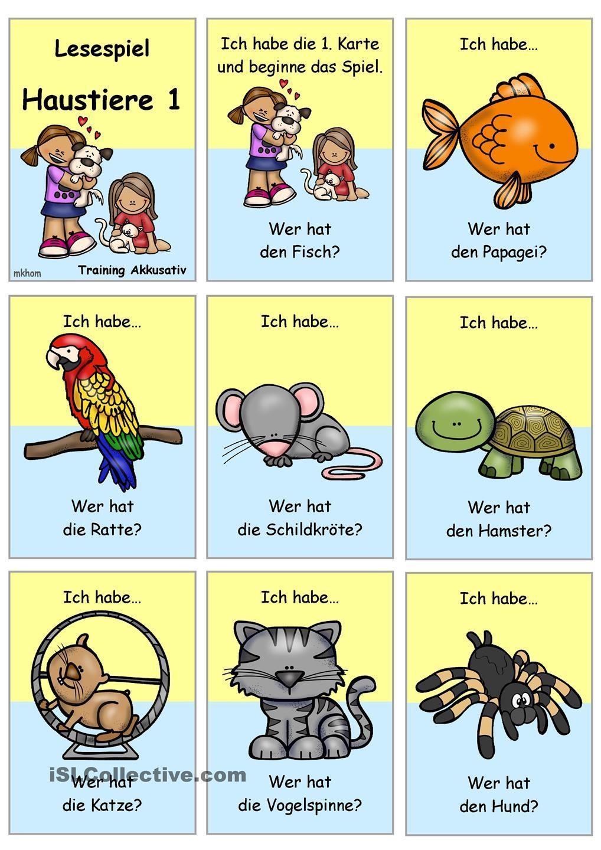 Lesespiel 1 _ Haustiere _ Ich habe...Wer hat...? Duitse