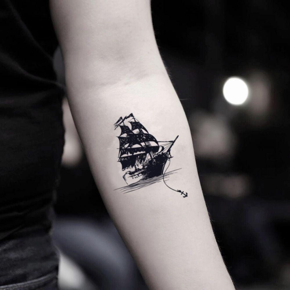 Black Pearl Temporary Tattoo Sticker Set Of 2 Small Black Tattoos Pirate Ship Tattoos Pirate Tattoo