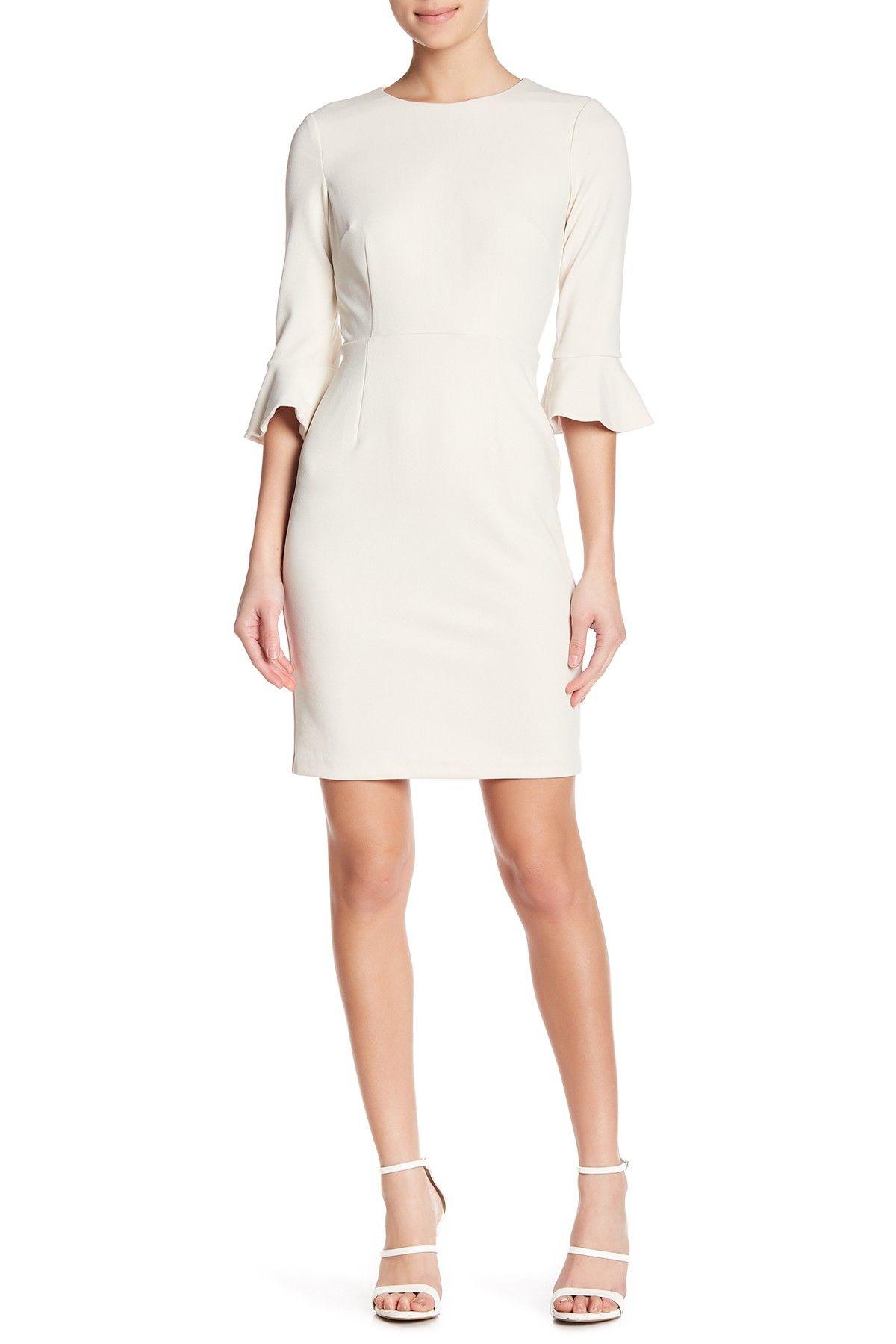 c0c97398 Donna Morgan | Ruffle Cuff Sheath Dress in 2019 | white dress ...