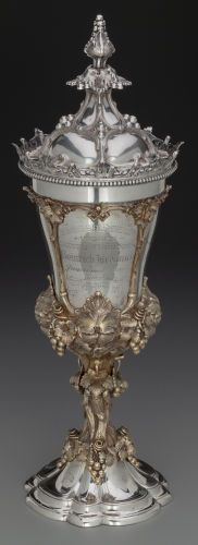 A Hanau Partial Gilt Silver Standing Covered Cup with Grapevine Motif, late 19th century.