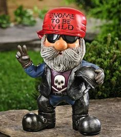 Biker Gnomes On Pinterest | Funny Gnomes, Biker Couple And Garden .