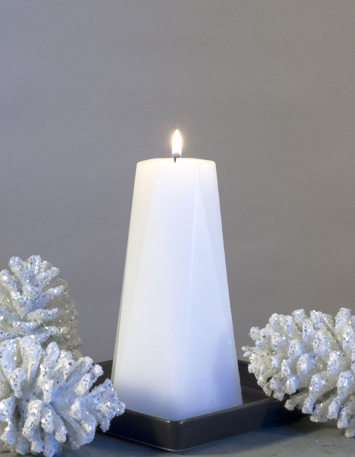White pillar candle hexagon