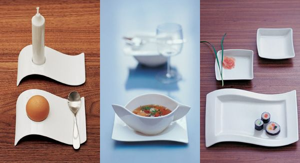 Villeroy Boch Features A Modern Asian Inspired Design Of Soft Curves In The Otherwise Square Pla Serving Plates Design Modern Plates Dining And Entertaining