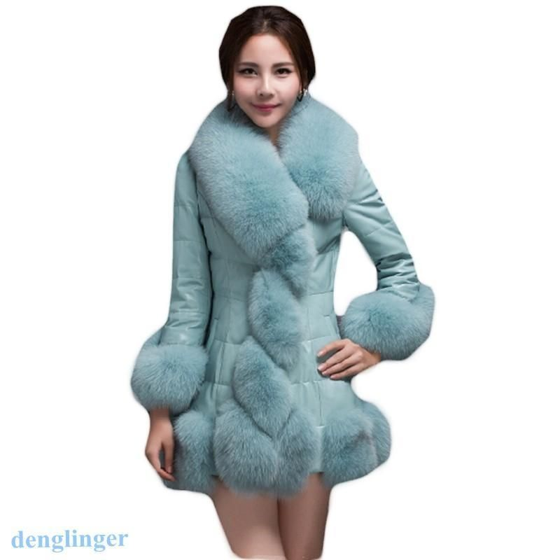 6fb2fb2b87c Winter Womens Mid Long Slim Fit Faux Fur Collar Jacket Coat Elegant Warm  Colors