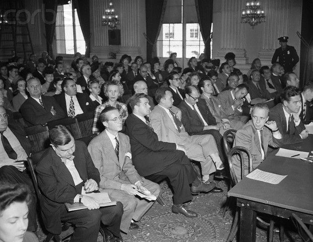 The House Un American Activities Committee Held A Hearing Where Subpoenaed Witnesses Were Probed In Hopes That Huac Would Red Scare Ring Lardner Film Industry