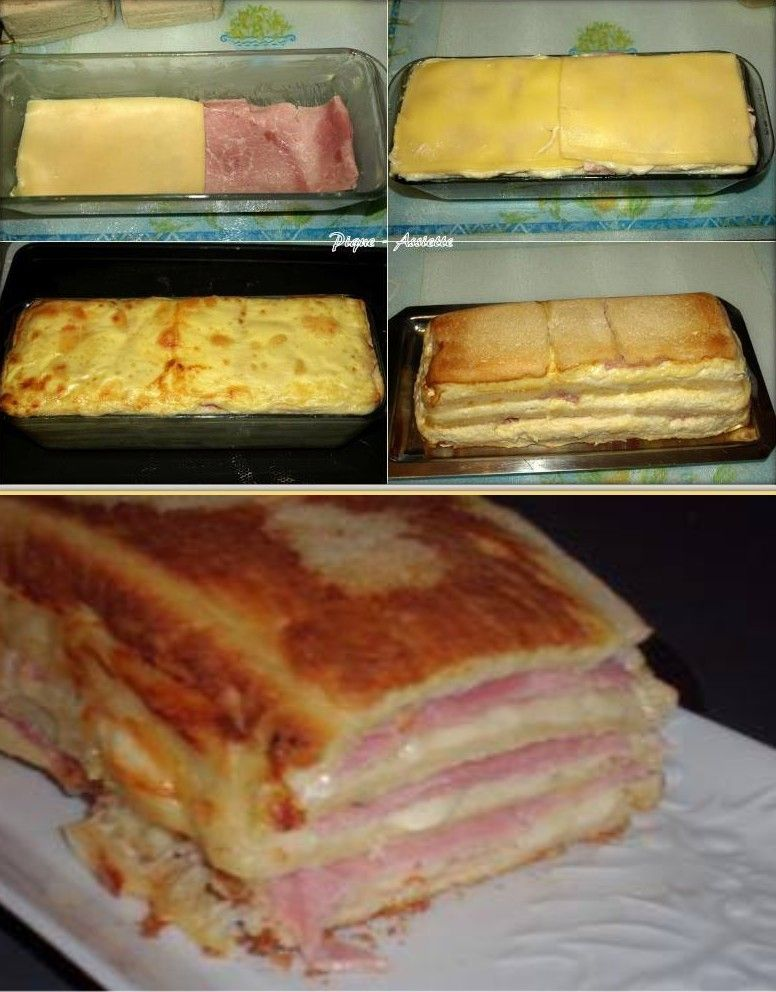 cake croque monsieur 12 tranches de pain de mie sans. Black Bedroom Furniture Sets. Home Design Ideas