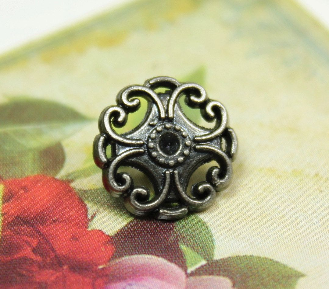 Floral Filigree Metal Buttons , Nickel Silver Color , Openwork , Shank , 0.51 inch , 10 pcs by Lyanwood, $5.00