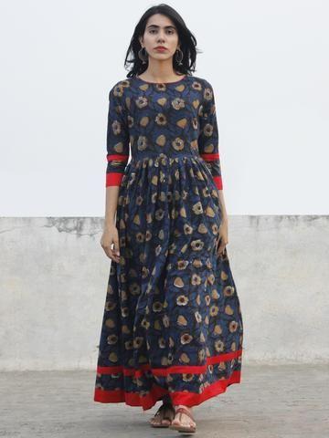 Indigo Black Brown Ivory Long Hand Block Cotton Dress With Back Details -  D136F981 a9d1fe3fe