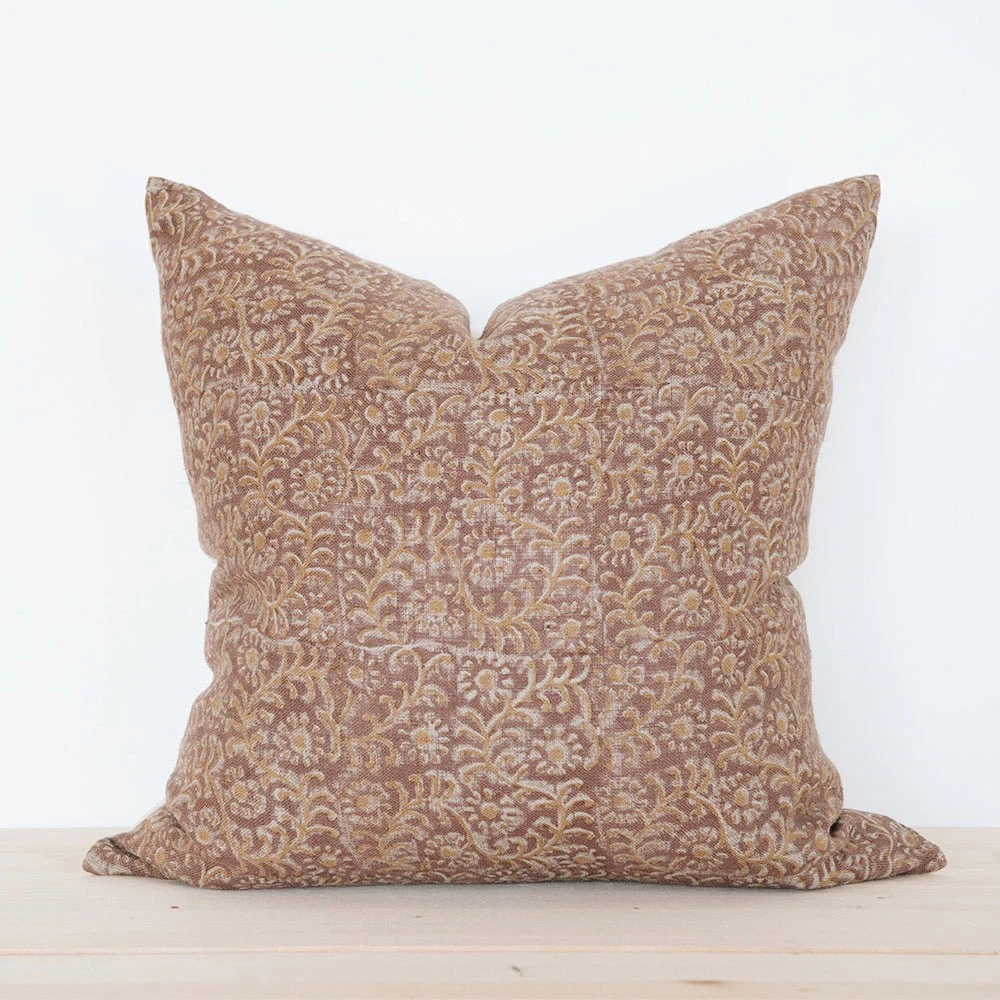 Linen Hand Block-Printed Pillow No. 0926 – connectedgoods.com