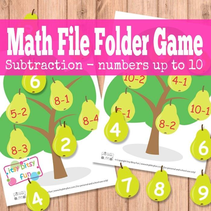 Pear Tree Math File Folder Game in 2020