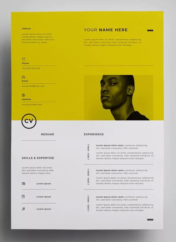 Stylish Yellow White Themed Resume Design For 2019 Modele De Cv Design Cv Original Mise En Page Cv