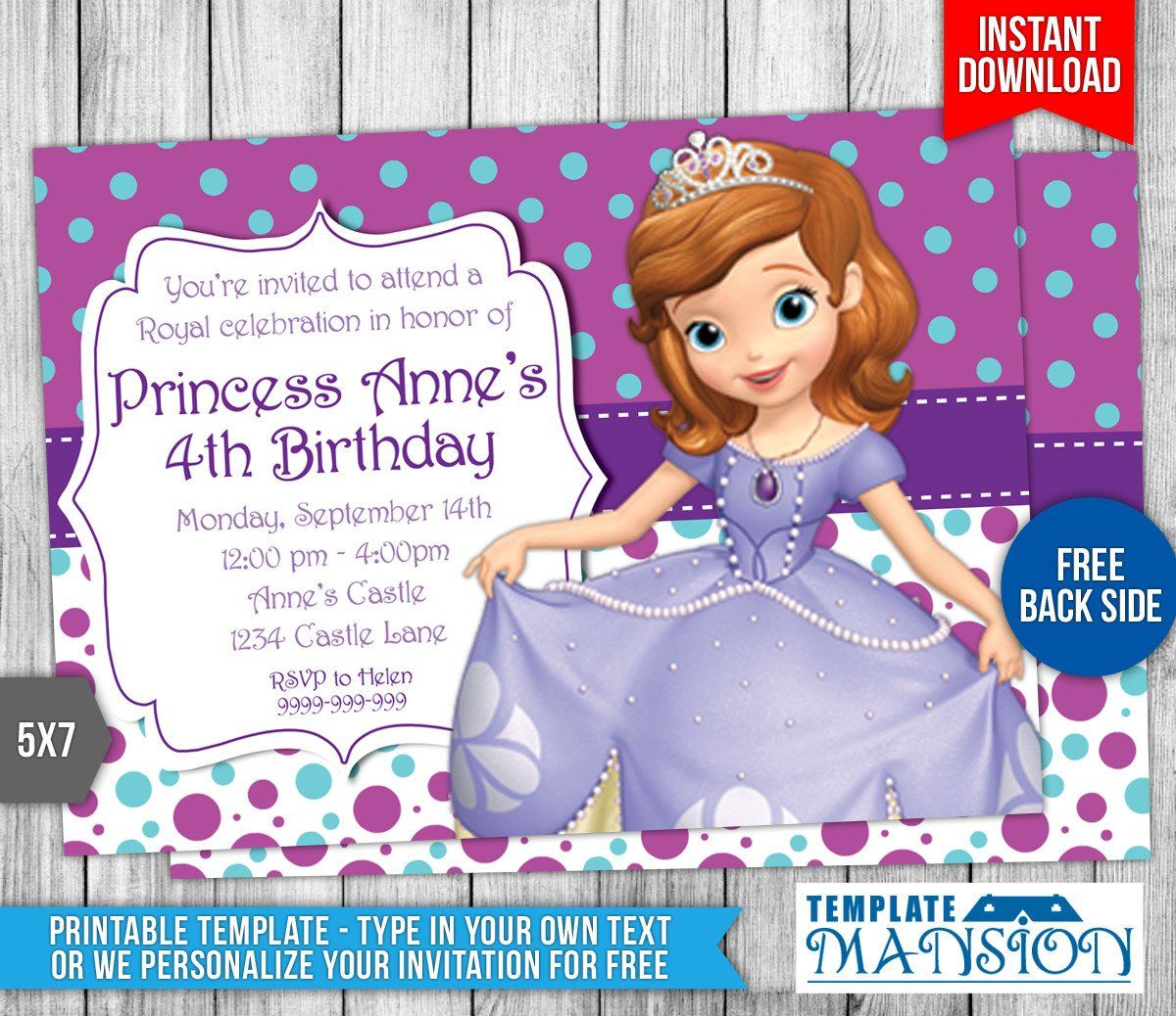 Sofia The First Invitation Templates Sofia The First Birthday Invitation 4 By Templatema First Birthday Invitations Princess Sofia Invitations Sofia Invitation
