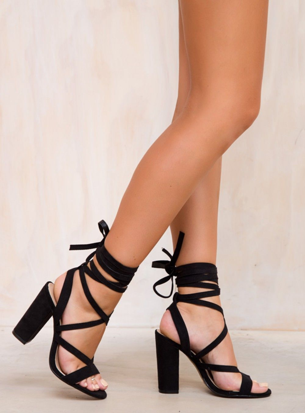 Billini+Black+Suede+Preen+Heels+-+Black+Preen+Heels+by+Billini  Suede+look+wrap+heels Strappy+design Ties+around+ankle Thick+block+heel  Man+made+material AUS ...